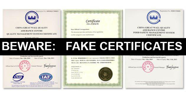 fake certificates